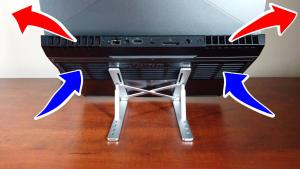 Portable laptop stand used to raise a laptop allowing for better airflow to the cooling fans