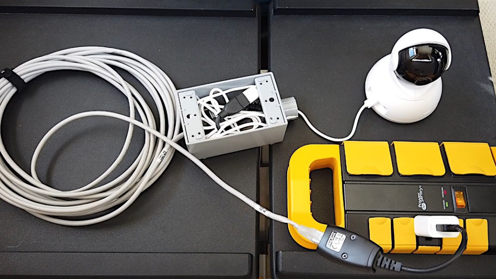Yi camera powered using USB extender adapters, USB cable and USB charger with waterproof junction box