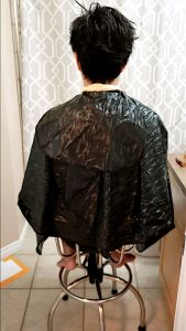 Cutting hair at home in washroom - Before