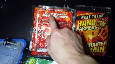 Air activated heat packs for car emergency kit
