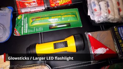 Glowstick + Larger LED flashlight for car emergency kit
