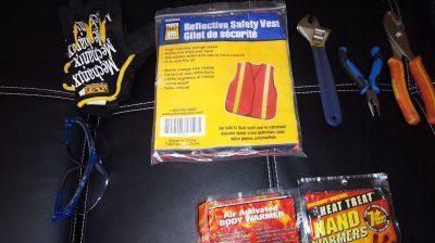Safety gear (Safety glasses, Reflective safety vest, Work gloves) for car emergency kit