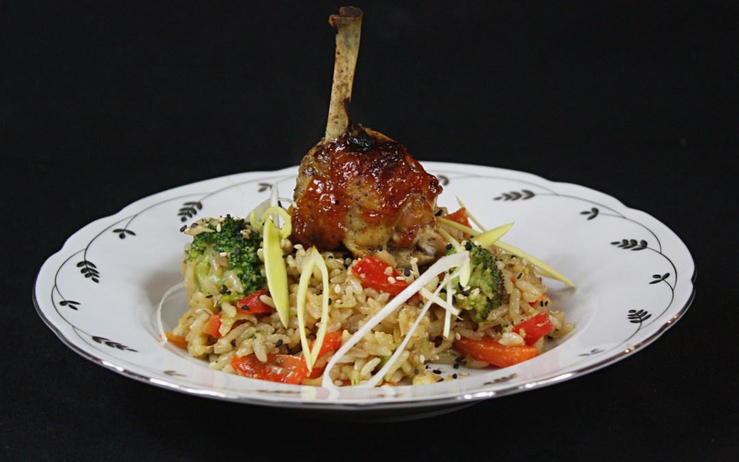 Fried rice med grillad kyckling