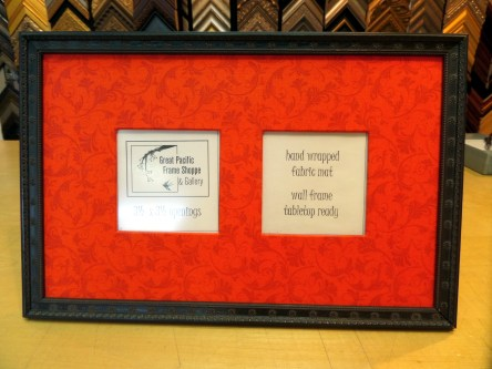 Black frame with red fabric.