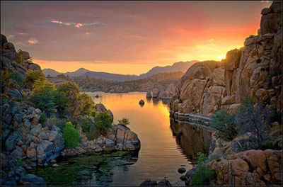 Mike Kinkade Watson Lake Sunset at The Frame & I Prescott Art Gallery
