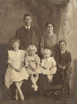 Dickson Family after photo restoration, color corrected and cracks removed.