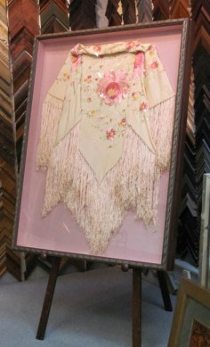 Custom Framed Hand Embroidered Shawl