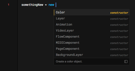 Example: Autocomplete only shows what can follow 'new'