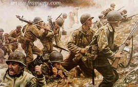 """BATTLE OF CRUCIFIX HILL Capt. Bobbie E. Brown and his men win and hold Crucifix Hill near Aachen, Germany. Image size 17 X 26"""" In stock and available APs only Current price - $275"""