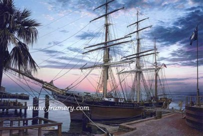 """CAVALIER OF THE SEAS A Confederate Navy vessel prepares to break the Union blockade of southern ports. Charleston, SC, 1861 S/N Limited Edition Print 19 1/2 X 29"""" Issue price - $200 S/N Classic Canvas Giclee 22 1/4 X 33"""" Issue price - $525 In stock and available"""