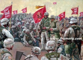 """THE COMMAND TEAM A seven-company battalion assembles in Kuwait before entering Iraq, March 2003 Image Size: 18"""" x 25"""" In stock and available Current price - Call"""