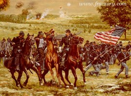 """A HARD DAY FOR MOTHER Joshua Chamberlain and his brothers react to a near miss by a bullet which almost caused """"A Hard Day for Mother."""" Image size 18 X 25"""" In stock and available Current price - $275"""