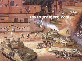 """OLD HICKORY AT BAQUBAH Third platoon of Alpha Co., 120th Infantry faces a large enemy force, June 2004 Image size 18 X 24"""" Issue price: $150"""