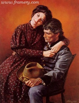 """PLANS FOR THE FUTURE The hope and reality of war reflected in the faces of a young couple caught up in the Civil War. Image size 20 X 15"""" In stock and available Current price - $375"""