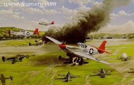 RED TAIL FURY 301st Fighter Squadron TUSKEGEE AIRMEN 332nd Fighter Group 50 Year Commemorative Edition by Ric Druet Each print is countersigned by squadron members. Each set is accompanied by information on the pilots and the fighter group. Current price - Call