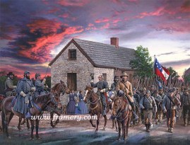 "SCARLET SKY Gen Jackson watches his troops march through Winchester, Va., on their successful Valley Campaign, May 25 1862 S/N Paper Giclee, Image size: 19"" x 25"" In stock and available Current price - $225"
