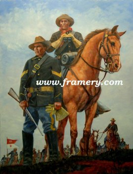 "SIGNAL SMOKE by Don Stivers Buffalo Soldiers played a major role in the settling of the American West. Commemorating the140th Anniversary of 10th Cav. Image size 18 X 23"" Current price - $195"