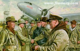 """WE GO TOGETHER General MacArthur leads a Corps Commander's conference at Suwon Air Base, Korea, Feb. 1951. Image size 15.5 X 25.5"""" Current price - Call"""
