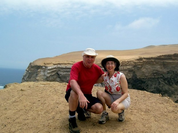 Jean and Bob on the Pacific coast at Paracas National Reserve, Ica, Peru.