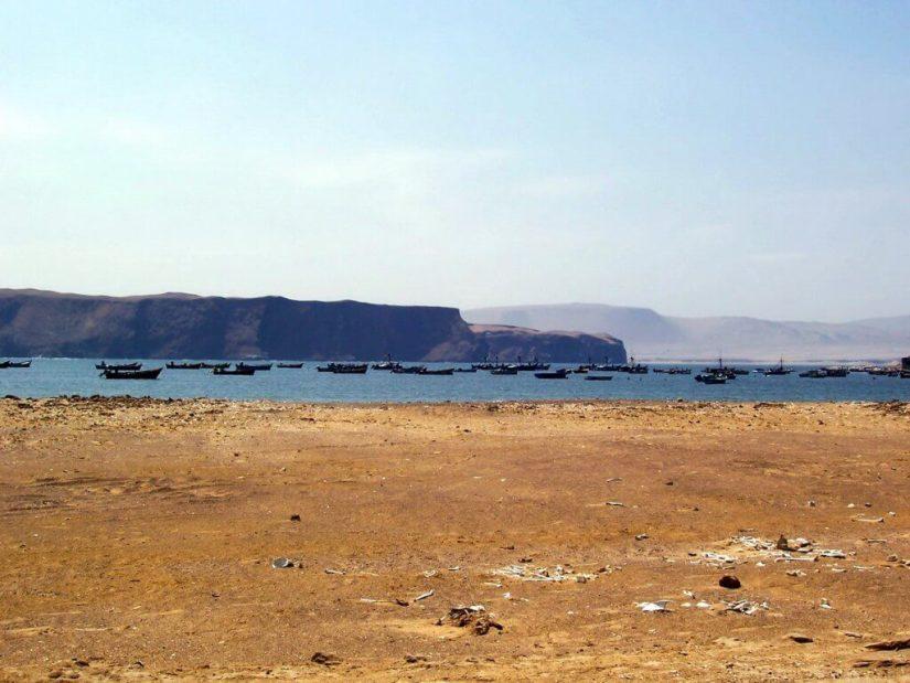 Fishing boats at Playa Lagunillas in Paracas National Reserve, Ica, Peru.