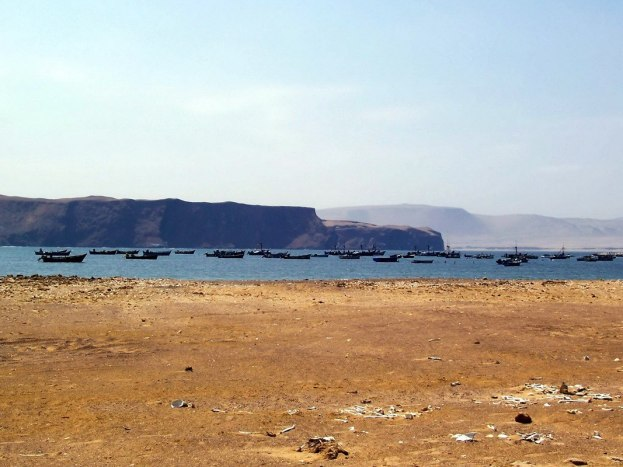 Fishing boats at Playa Lagunillas in Paracas National Reserve, Ica, Peru.