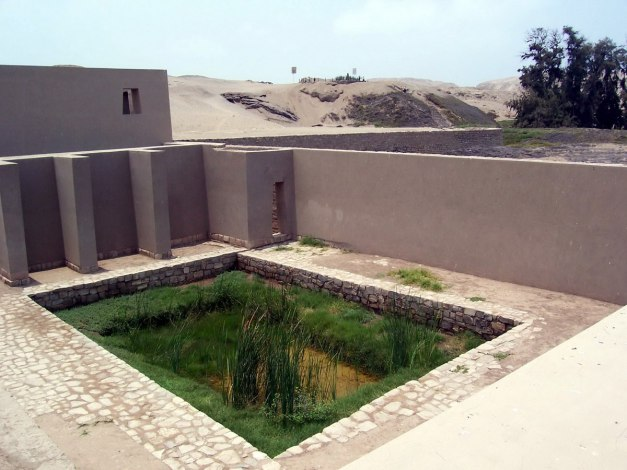 Ruins of Mamcuna or Templo de la Luna at the Temple of Pachacamac ruins south of Lima, Peru, South America