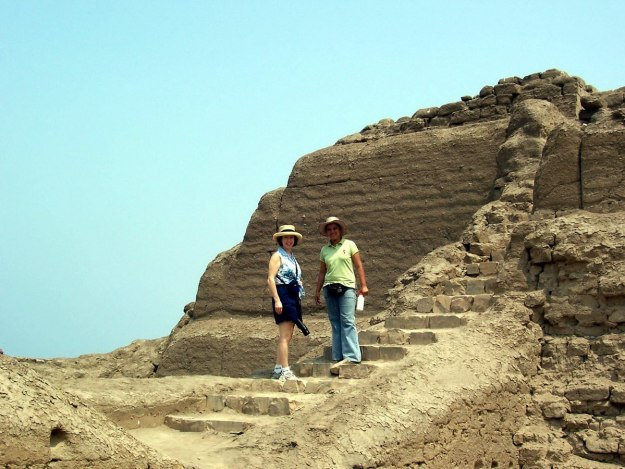 Jean with our guide on the stone steps at the Temple of Pachacamac ruins near Lima, Peru, South America