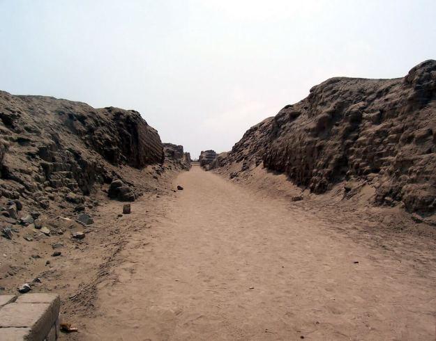 Walkway through the Temple of Pachacamac ruins near Lima, Peru, South America