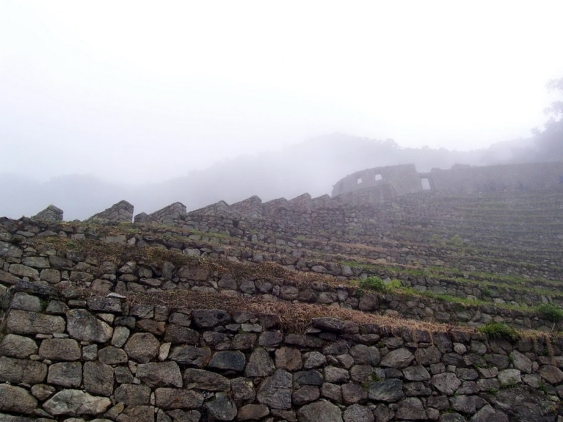 Rock terraces at the Wiñay Wayna ruins on the Inca Trail in Peru, South America
