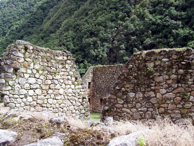 Stone walls at the Inca ruins at Chachabamba in Peru, South America