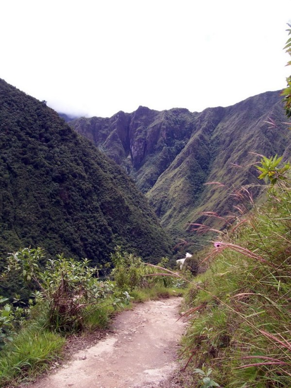 Inca trail heading up from the Urubamba River in Peru, South America