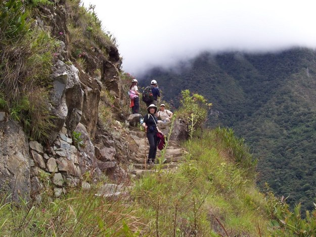 Jean hiking with a group on the the Inca Trail in Peru, South America