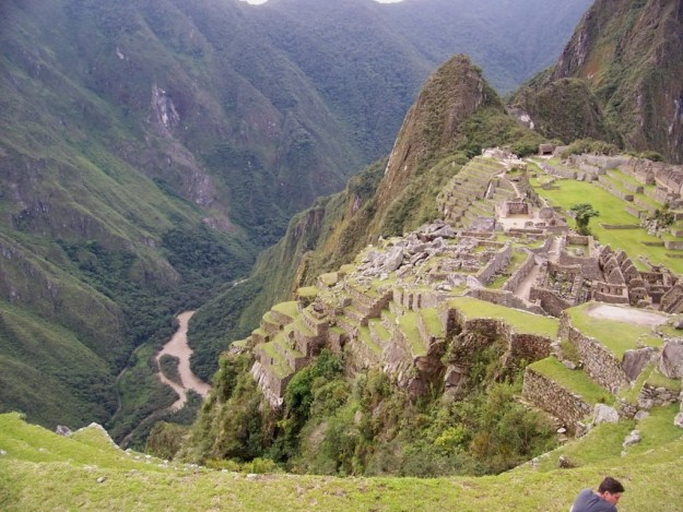 An image of the terraces and buildings at Machu Picchu in Urubamba Province, Peru