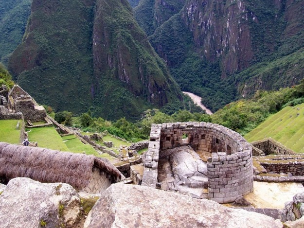 An image from above of the Tower of the Sun at Machu Picchu in Urubamba Province, Peru.