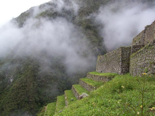 Upper terrace at the Wiñay Wayna ruins in Peru, South America
