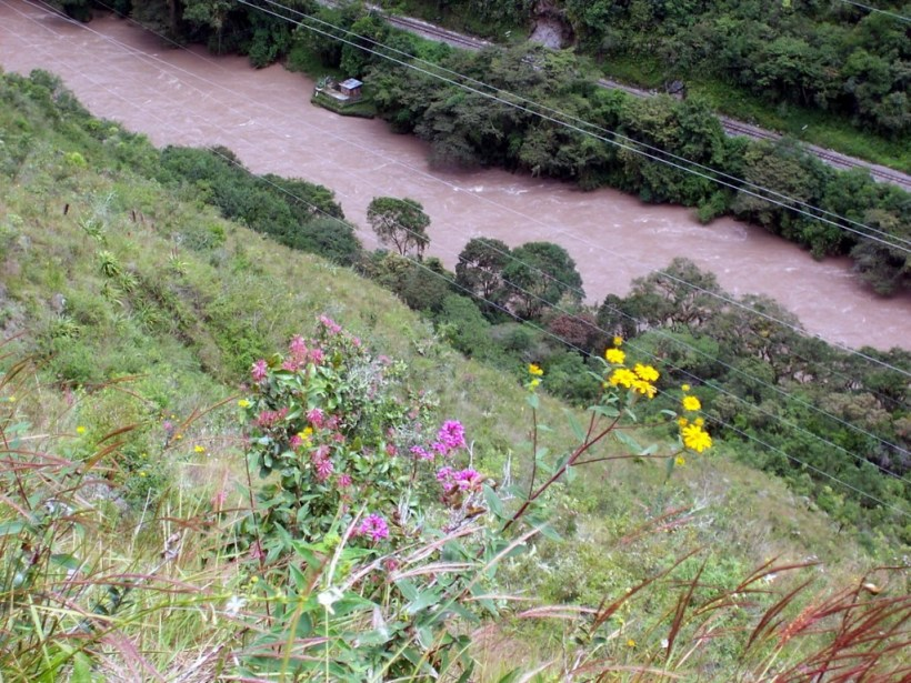 View of the Urubamba River in valley below, Peru, South America
