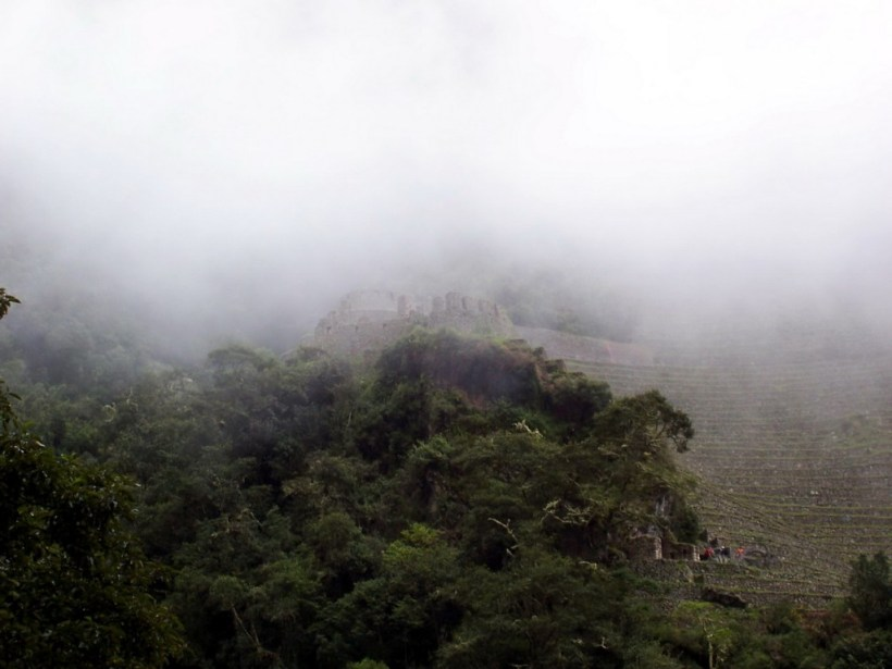 Mist and clouds over the Wiñay Wayna ruins in Peru, South America