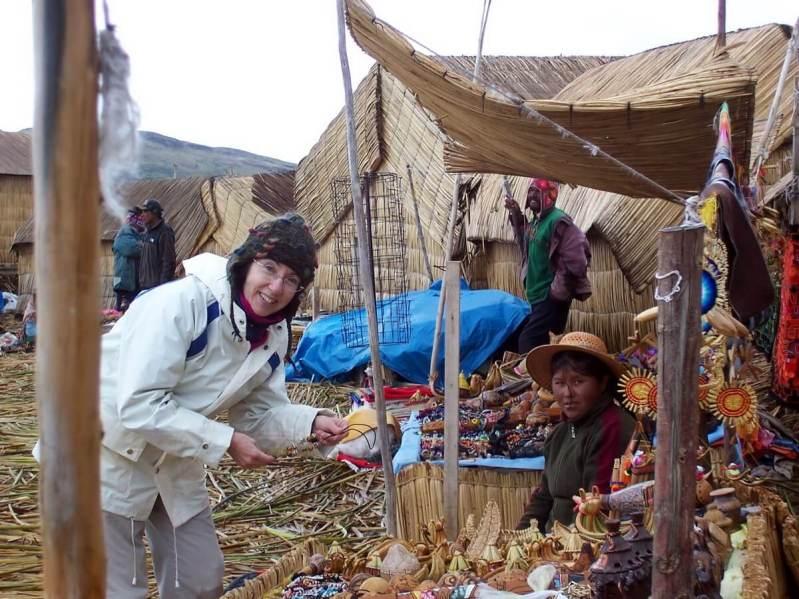 checking out uros craft market, floating island, lake titicaca, peru