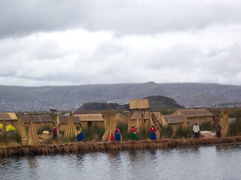 floating island on lake titicaca, peru