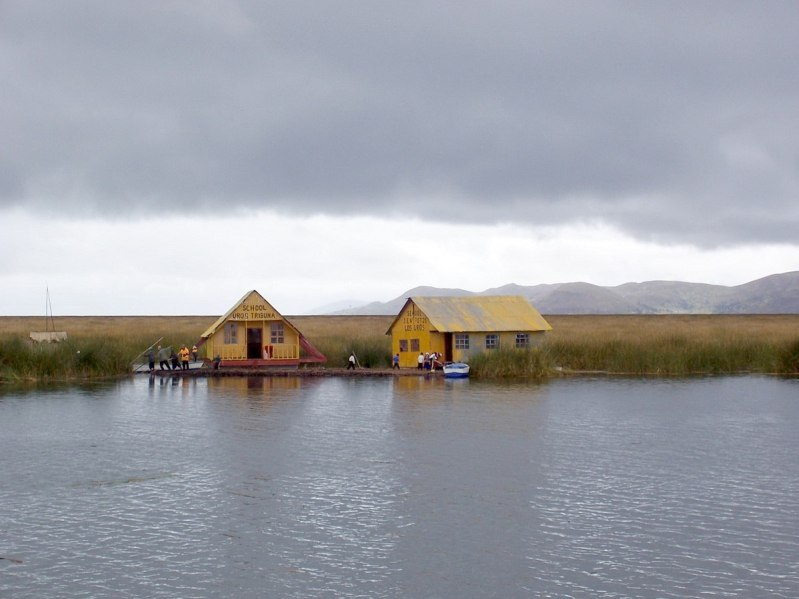 uros school on floating island, lake titicaca, peru