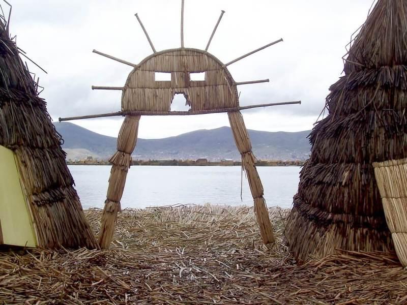 uros symbol on lake titicaca, peru