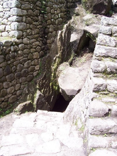 Entrance to a tunnel on hiking trail up Huayna Picchu mountain, Machu Picchu