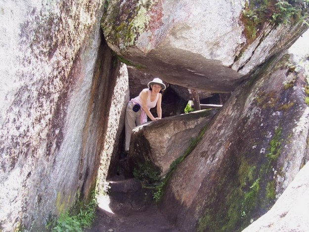 Jean exits the tunnel on the hiking trail up Huayna Picchu, Machu Picchu