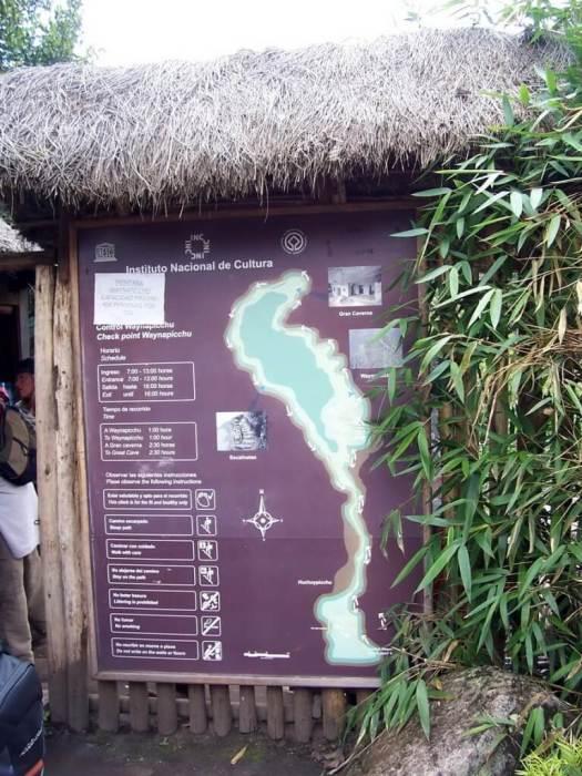 Entrance gate and map at Huayna Picchu mountain at Machu Picchu, in Urubamba Province, Peru.