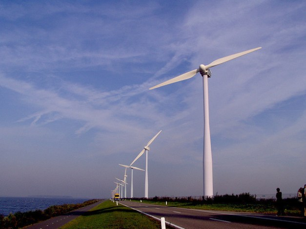 Dutch windmills along ocean highway