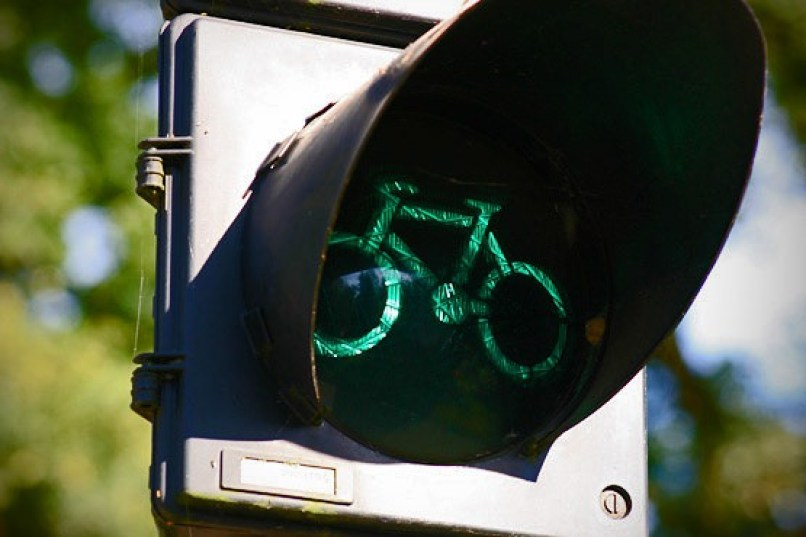 An image of a bicycle traffic light on a cycle track near Keukenhof Gardens in Lisse, the Netherlands. Photography by Frame To Frame - Bob and Jean.