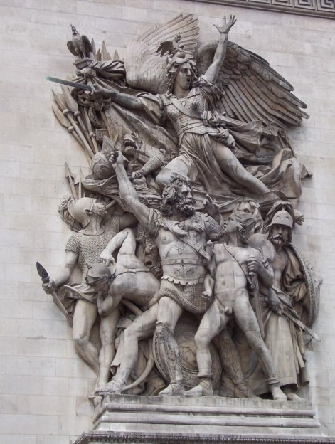 An image of Le Depart de 1792 or La Marseillaise sculpture on the Arc de Triomphe in Paris, France.