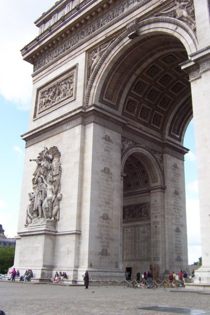 An image of the Le Triomphe of 1810 sculpture on a pillar of the Arc de Triomphe in Paris, France.