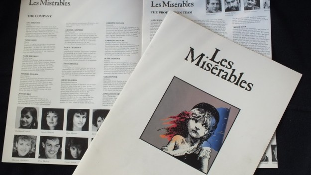 An image of a theatre program for the stage production of Les Miserables in Toronto, Ontario.