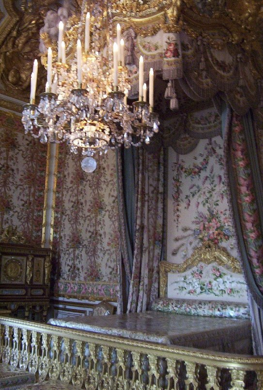 An image of Marie Antoinette's bedchamber at the Palace of Versailles in France.